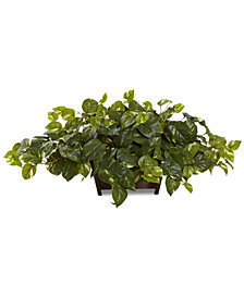 Nearly Natural Pothos Artificial Plant in Decorative Rectangular Planter