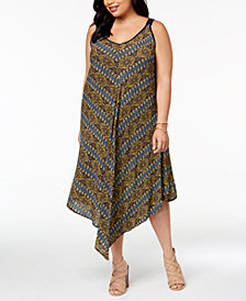 John Paul Richard Plus Size Pointed-Hem Midi Dress