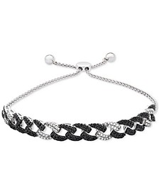 Black and White Diamond Link Bolo Bracelet (1 ct. t.w.) in Sterling Silver, Created for Macy's