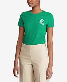 Lauren Ralph Lauren Petite Beaded Monogram T-Shirt, Created for Macy's