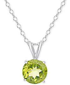 "Peridot 18"" Pendant Necklace (1-1/4 ct. t.w.) in Sterling Silver"