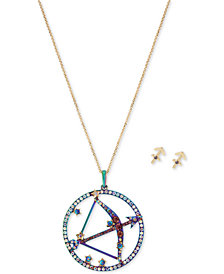 "Betsey Johnson Two-Tone Multi-Stone Sagittarius Zodiac Pendant Necklace & Stud Earrings Set, 21-1/2"" + 3"" extender"