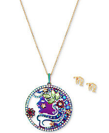 "Betsey Johnson Two-Tone Multi-Stone Virgo Zodiac Pendant Necklace & Stud Earrings Set, 21-1/2"" + 3"" extender"