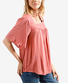 Lucky Brand Shadow-Stripe Square-Neck Peasant Top