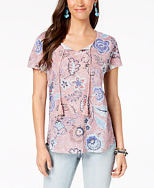Style & Co Printed Tassel-Tie Neck Top, Created for Macy's
