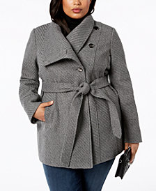 I.N.C. Plus Size Belted Asymmetrical Coat, Created for Macy's