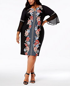 JM Collection Plus & Petite Plus Size Printed Flare-Sleeve Dress, Created for Macy's