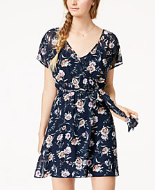 Trixxi Juniors' Floral Chiffon Wrap Dress