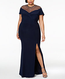 XSCAPE Plus Size Beaded Gown