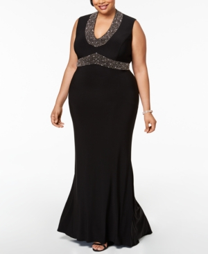 1950s Prom Dresses & Party Dresses Betsy  Adam Plus Size Beaded Gown $259.00 AT vintagedancer.com