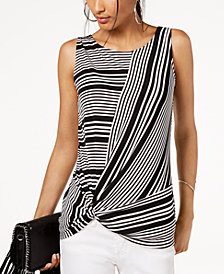 I.N.C. Petite Striped Twist-Hem Top, Created for Macy's