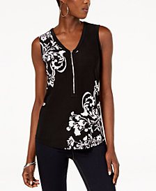I.N.C. Printed Zip-Front Top, Created for Macy's
