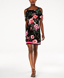 I.N.C. Printed Cold-Shoulder Dress, Created for Macy's