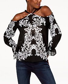I.N.C. Cotton Cold-Shoulder Top, Created for Macy's