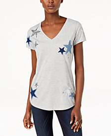 I.N.C. Star-Patched Sequined Top, Created for Macy's