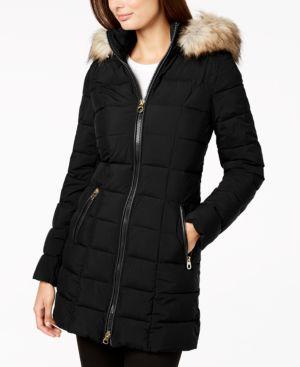 LAUNDRY BY SHELLI SEGAL Laundry By Shelli Segal Faux Fur Trim Hooded Puffer Coat in Black