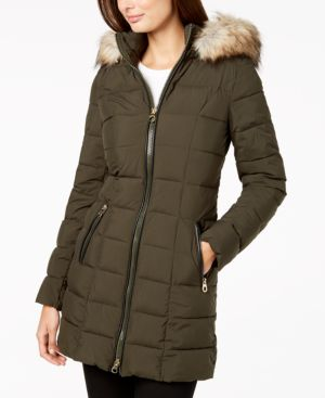 LAUNDRY BY SHELLI SEGAL Laundry By Shelli Segal Faux Fur Trim Hooded Puffer Coat in Moss Green