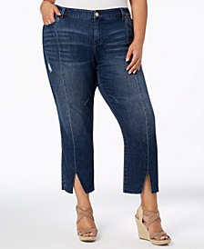 Celebrity Pink Trendy Plus Size Seamed Vented-Hem Jeans