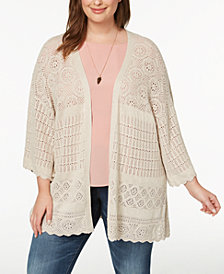Style & Co Plus Size Pointelle Bell-Sleeve Kimono, Created for Macy's