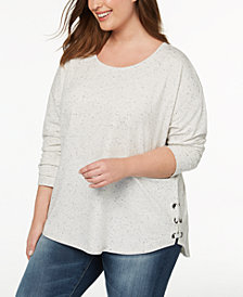 Style & Co Plus Size Lace-Up Size Top, Created for Macy's
