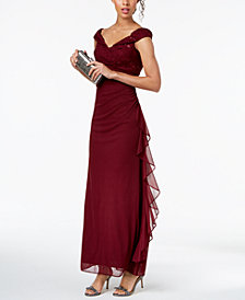 Betsy & Adam Sequined-Lace Ruched Gown
