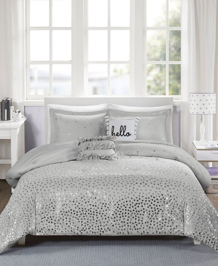 Intelligent Design Zoey Reversible 4 Pc, Silver And White Bedding Sets