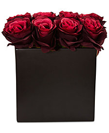 Nearly Natural Burgundy Rose Artificial Arrangement in Black Vase