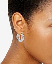 Kenneth Cole New York Silver-Tone Multi-Row Hoop Earrings