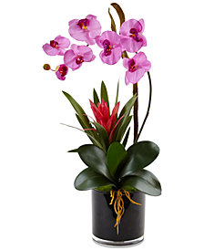 Nearly Natural Purple Orchid & Bromeliad Artificial Arrangement in Glossy Black Cylinder Vase