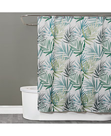 "Saturday Knight Maui Textured Palm-Print 70"" x 72"" Shower Curtain"