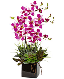 Nearly Natural Orchid and Succulent Artificial Arrangement in Black Vase