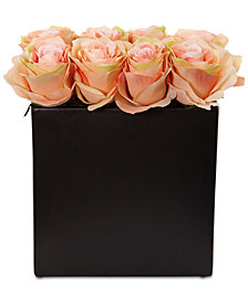 Nearly Natural Peach Rose Artificial Arrangement in Black Vase