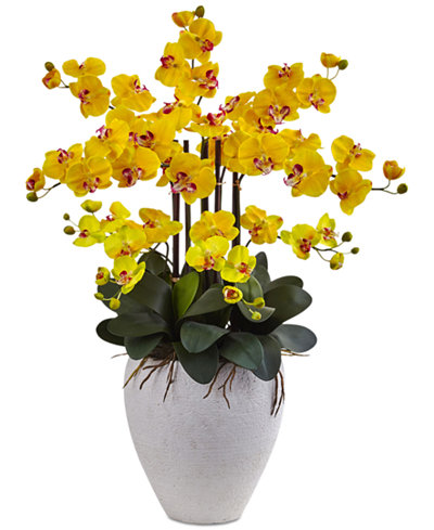 nearly natural yellow phalaenopsis orchid artificial arrangement