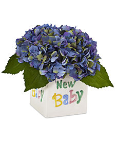 Nearly Natural Blue Hydrangea Artificial Arrangement in New Baby Ceramic Planter