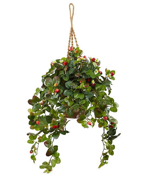 Nearly Natural 41''H Strawberry Bush Artificial Arrangement in Hanging Basket