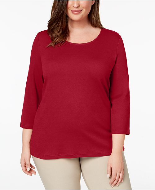 fc922584af372 ... Karen Scott Plus Size Cotton Scoop-Neck Top