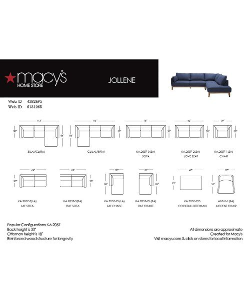 Furniture Jollene 113 Quot 2 Pc Sectional Created For Macy S