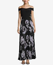 XSCAPE Pleated Off-The-Shoulder Gown