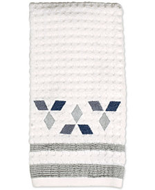 Saturday Knight Cubes Cotton Textured Embroidered-Diamond Hand Towel
