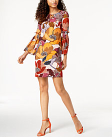 Donna Ricco Floral Printed Bell-Sleeve Dress