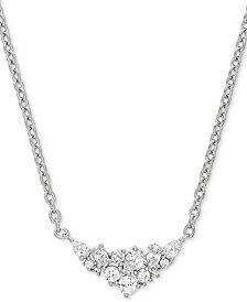 "Arabella Swarovski Zirconia 18"" Statement Necklace in Sterling Silver"