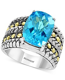 EFFY® Blue Topaz Ring (7-3/8 ct. t.w.) in Sterling Silver & 18k Gold