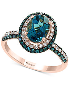EFFY® London Blue Topaz (1-1/2 ct. t.w.) & Diamond (1/2 ct. t.w.) Ring in 14k Rose Gold