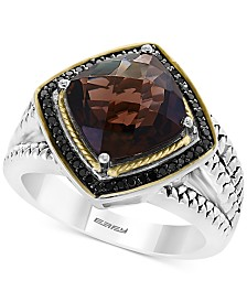 EFFY® Smoky Quartz (3-2/3 ct. t.w.) & Diamond (1/5 ct. t.w.) Ring in Sterling Silver & 18k Gold