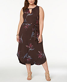 Lucky Brand Trendy Plus Size Printed Keyhole Dress