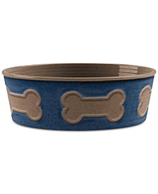TarHong Bone Emboss Indigo Large Pet Bowl