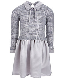 Bonnie Jean Little Girls Layered-Look Satin Sweater Dress