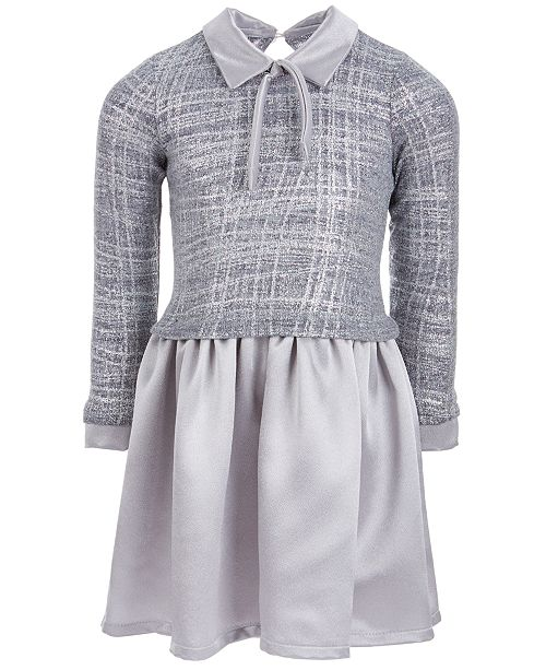 bddf94e1a ... Bonnie Jean Toddler Girls Layered-Look Satin Sweater Dress ...