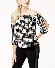 Bar III Printed Off-The-Shoulder Top, Created for Macy's
