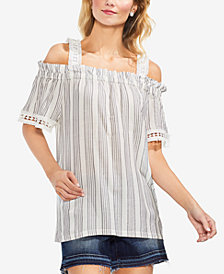 Vince Camuto Striped Cold-Shoulder Top